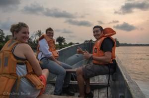 taking the ferry across the Nyanga river